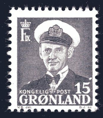 Greenland 1950 15 Ore King Frederik IX Mint Unhinged