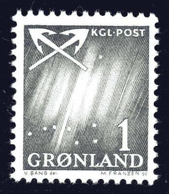 Greenland 1963 1 Ore Northern Lights Mint Unhinged