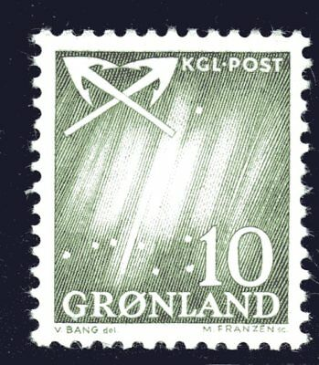Greenland 1963 10 Ore Northern Lights Mint Unhinged