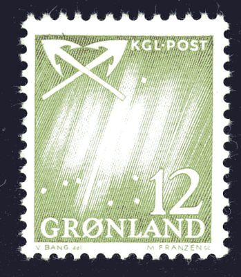 Greenland 1963 12 Ore Northern Lights Mint Unhinged