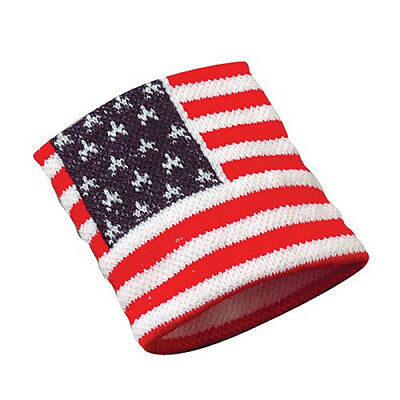American Flag Stretchy USA Wristband Sweatband Patriotic Red White & Blue