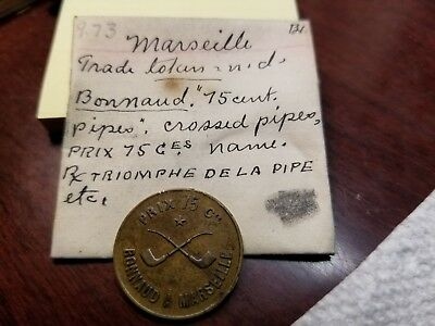 MARSEILLE -FRANCE TRADE TOKEN -Bonnaud à Marseille, Prix 75 cent -CROSSED PIPES