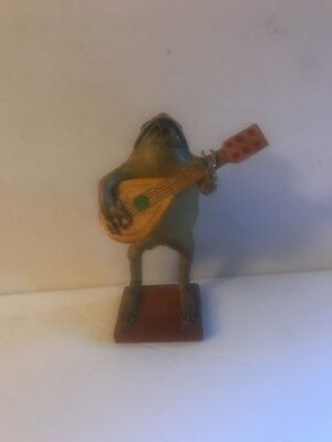 Vintage Taxidermy Frog Toad Playing Guitar Figurine Statue Musician