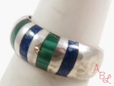 Sterling Silver Vintage 925 Cocktail Lapis & Malachite Ring Sz 6 (3.3g) - 724292