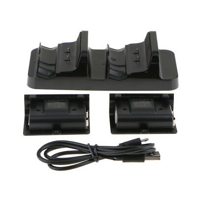 For Xbox One S Dual Controller Charger Dock Station Base w/ 2 Battery Packs