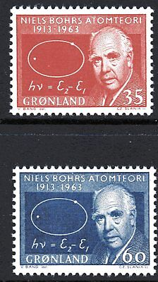 Greenland 1963 Niels Bohr Atomic Model set of 2 Mint Unhinged