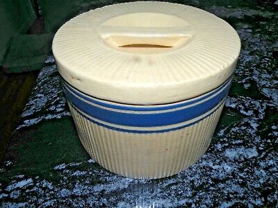 Hull Pottery Yelloware Blue Band Covered Cheese Crock