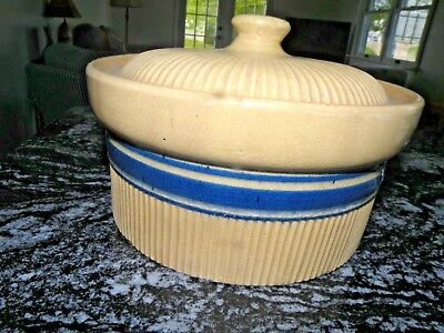 Hull Pottery Yelloware Blue Band Covered Casserole