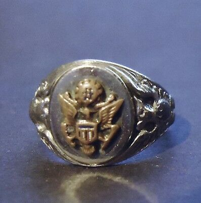 Wwii U.s. Army Sterling Silver Sweetheart Ring Size 5.5 (Or Pinky Ring)