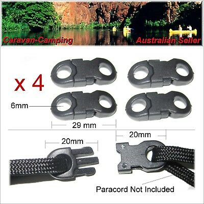 Black Plastic Joiner Clips x 4.. clip buckle buckles joiners 550 paracord cord
