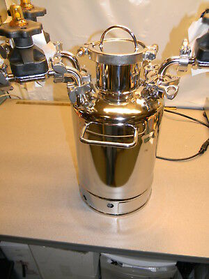 Alloy 10 L Stainless Steel Pressure Vessel W 3 Valves, 228.6MM ID X 423.2 Height