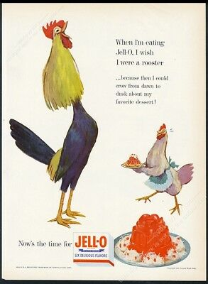 1954 Jello Jell-O chicken rooster art vintage print ad