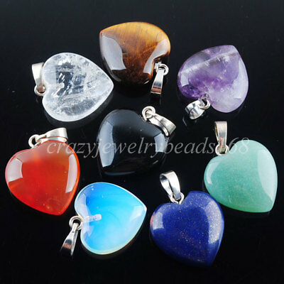 Natural Gem Stone Bead Heart Silver Plated Reiki Chakra Pendant Necklace BN345