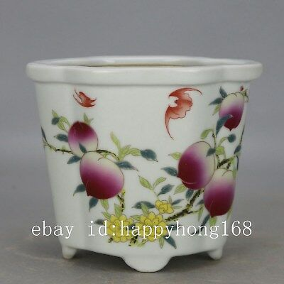 Chinese old hand-carved porcelain famille rose glaze peach pattern flowerpot c02