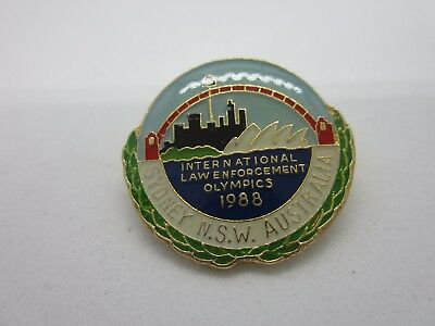 LAW ENFORCEMENT OLYMPICS SYDNEY 1988 INTERNATIONAL POLICE Collectable Mini Pin