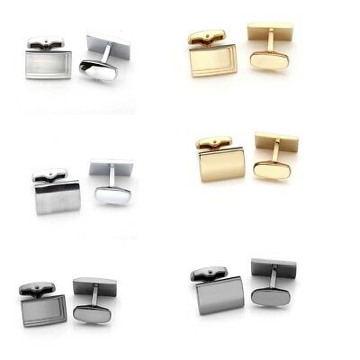 Men's Stainless Steel Rectangle Cufflinks Cuff Link Bussiness Wedding Party New