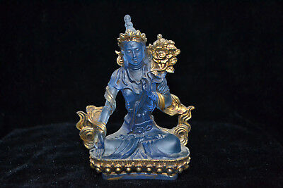Collectible Vintage amber Tibet Buddha chinese old blue and gold rare big Statue