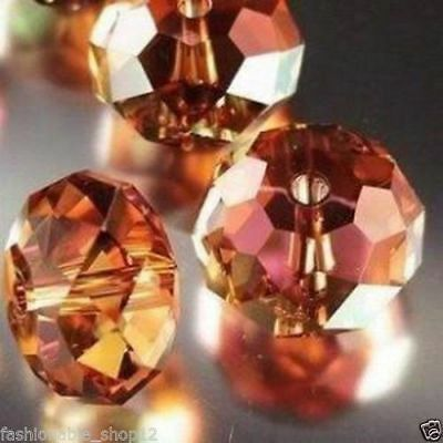 Wholesale 4*6mm Faceted Orange AB Crystal Loose Beads 200pcs