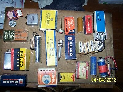 Nos Group Lot Of Vintage Radio Parts, Capacitors, Switches Vibrators Condensers