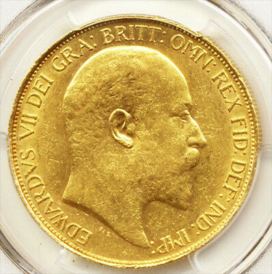 King Edward Vii 1902 £5 Gold Sovereign Pcgs Au55