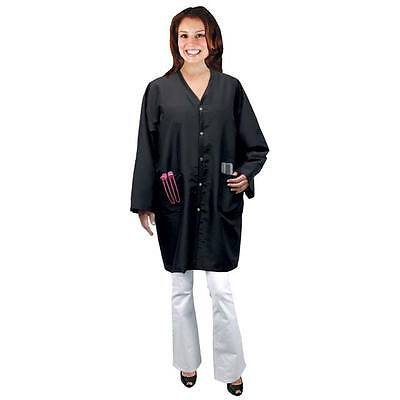 Salon Chic Scalpmaster 4074 Hair Stylist Smock Jacket Black Poly/Nylon Sz Large