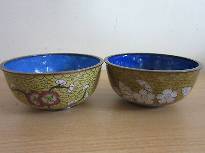 Antique Chinese Cloisonne enameled pair of bowls Yellow w/ flowers