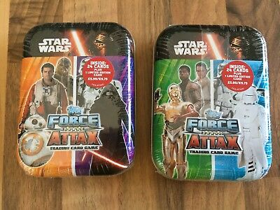 2 sealed Topps Star Wars Force Attax Tins
