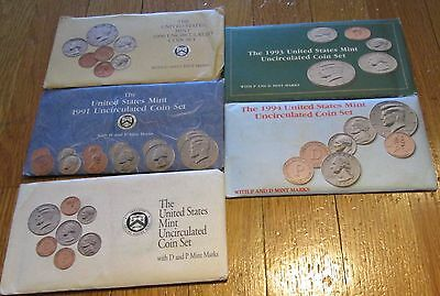 1990 1991 1992 1993 1994 US Mint Mint sets  with COA  5 Sets