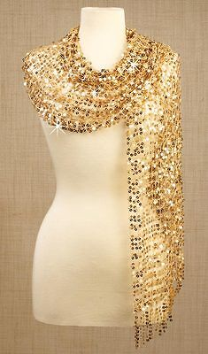"Womens Gold Sequin Scarf/wrap 12""w X 64""l. Over 500 Sewn Sequins. Nip"