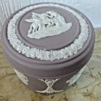 A pretty round lidded trinket box from Wedgwood in lilac in their Jasper Ware