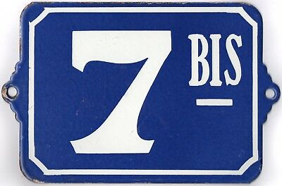 Large old blue French house number 7 BIS door gate plate plaque enamel sign