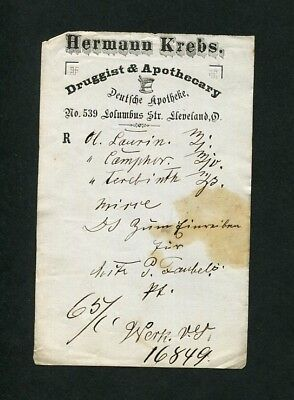 c1875 Antique Prescription Hermann Krebs Druggist & Apothecary Cleveland OH