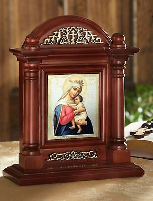 Virgin Of Hope Madonna and Child Christ Russian Icon Home Wood Shrine With Glass