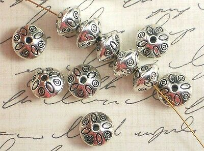 10 Spacer Saucer Beads Hill Tribes Style Antique Silver Tone 6mm x 9mm #P181