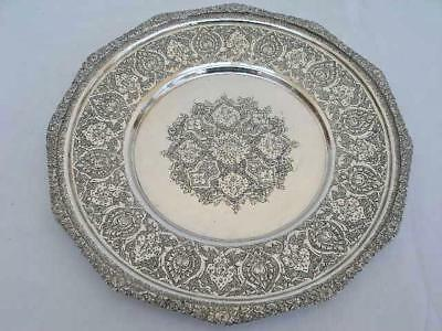 Superb Persian Antique Hand Chased Solid Silver .840 Standard Plate By Biryayi.