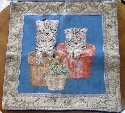 TAPESTRY UPHOLSTERY PILLOWCASE Cats in Flowerpots