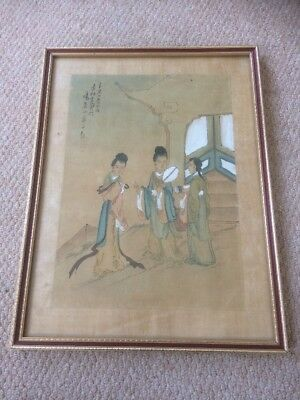 Fabulous Antique CHINESE PAINTING on Silk with Seals & Signatures of 3 Maidens