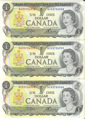 Bank of Canada 1973 Lot of 3 Consecutive Notes UNC Crow- Bouey