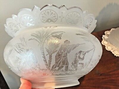 """Antique Crown Top LION HUNT Etched Gas Oil Lamp Banquet Shade 3 3/4"""" fitter"""
