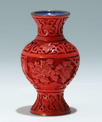 Small Carved Chinese Cinnabar Laquer Vase    #as175