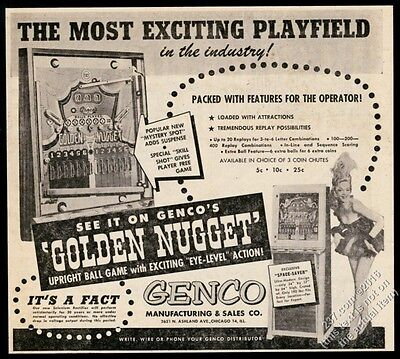 1953 Genco Golden Nugget upright arcade ball game photo vintage trade print ad