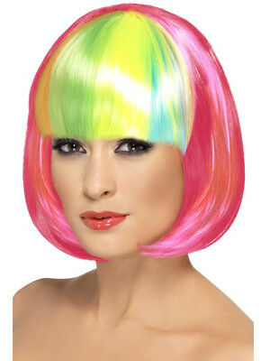Women's Partyrama Neon Pink Short Bob With Rainbow Fringe Wig Costume Accessory
