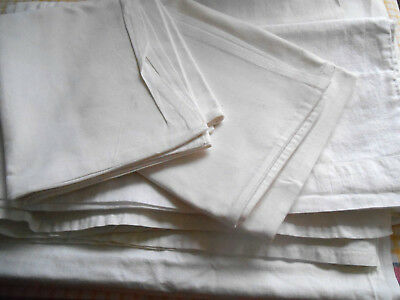 Vintage Set Linen Sheet Pillowcases Bolster Case Cotton White Thick Traditional