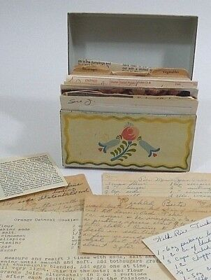 Recipes Box Vtg Metal Ohio Art Country Floral Red Heart Pennsylvania Dutch USA