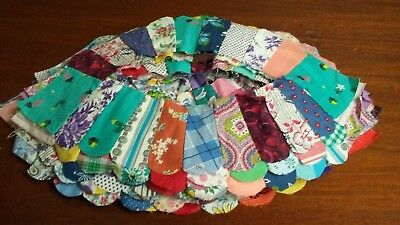 41 Vintage Double Wedding Ring Quilt Blocks, Hand Stitched, Feed Sack Fabric