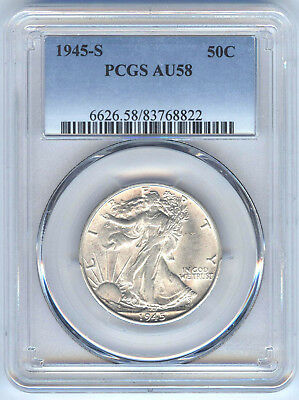 1945-S Walking Liberty Half Dollar Pcgs Au58