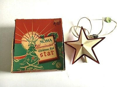 Vintage Noma Illuminated Light-Up Christmas Tree Star Metal Topper With Box