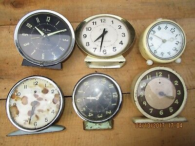 Collection of 6 vintage Alarm Clocks .Westclox 'Big Ben ' Alarm clock x 2 + more