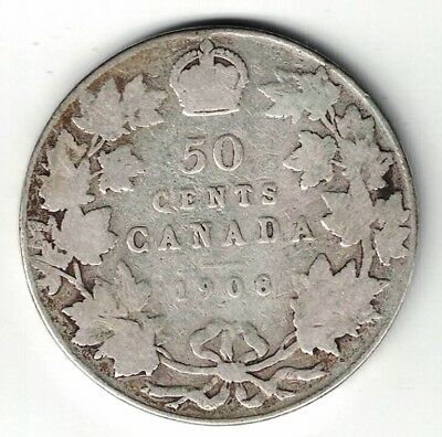 Canada 1908 50 Cents Half Dollar King Edward Vii Sterling Silver Canadian Coin