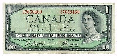 1954 CANADA ONE DOLLAR NOTE 'DEVIL'S FACE' - p66b
